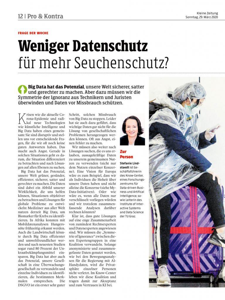 2020-03-29_Kleine Zeitung_Weniger Datenschutz für mehr Seuchenschutz