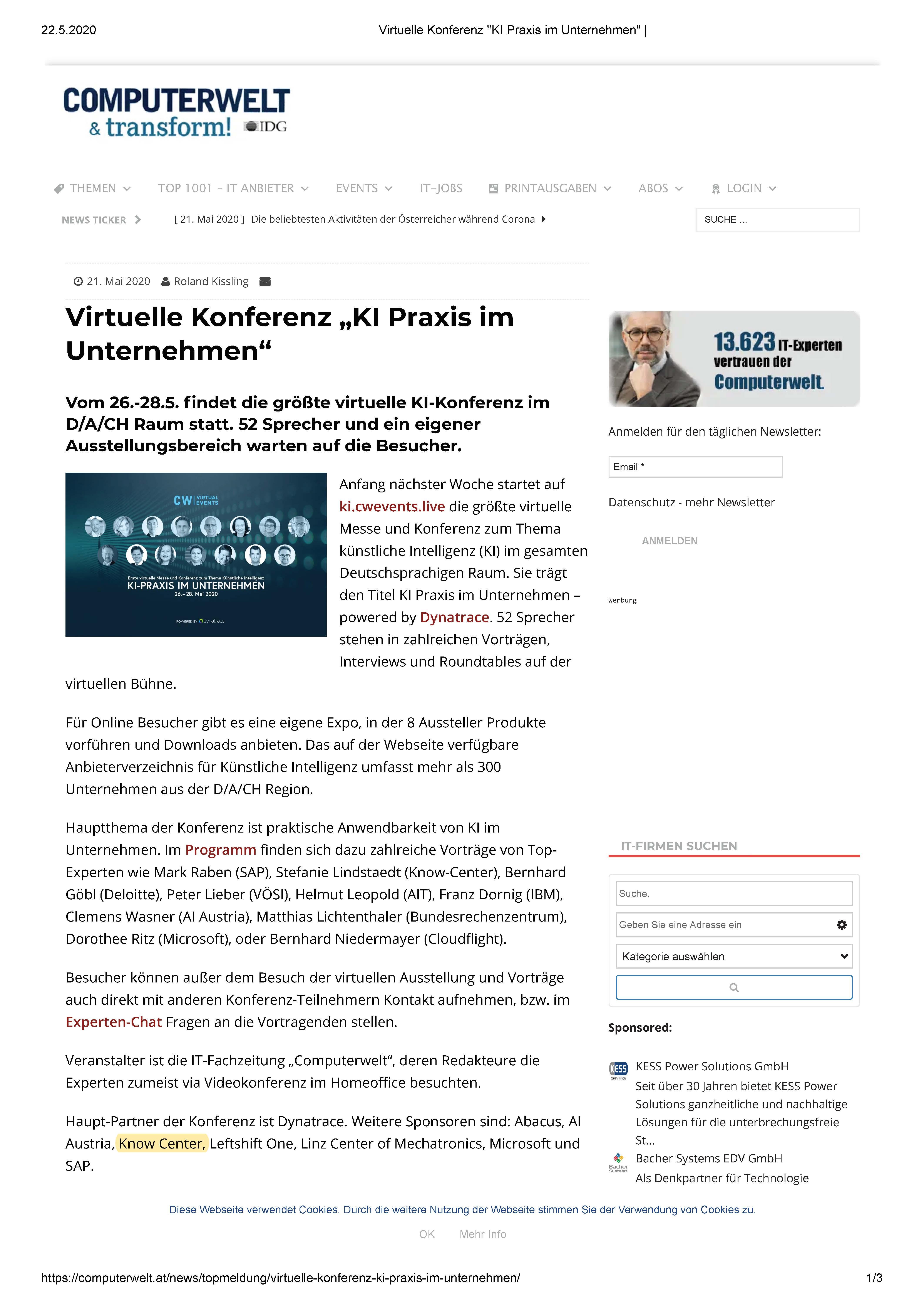 2020-05-21_Computerwelt_Virtuelle Konferenz _KI Praxis im Unternehmen