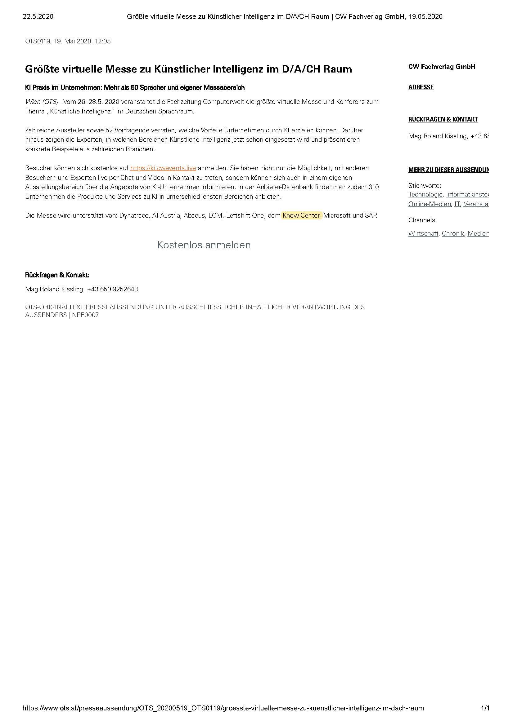 2020-05-22_OTS PresseInfo-Größte virtuelle Messe zu Künstlicher Intelligenz im D_A_CH Raum _CW Fachverlag GmbH