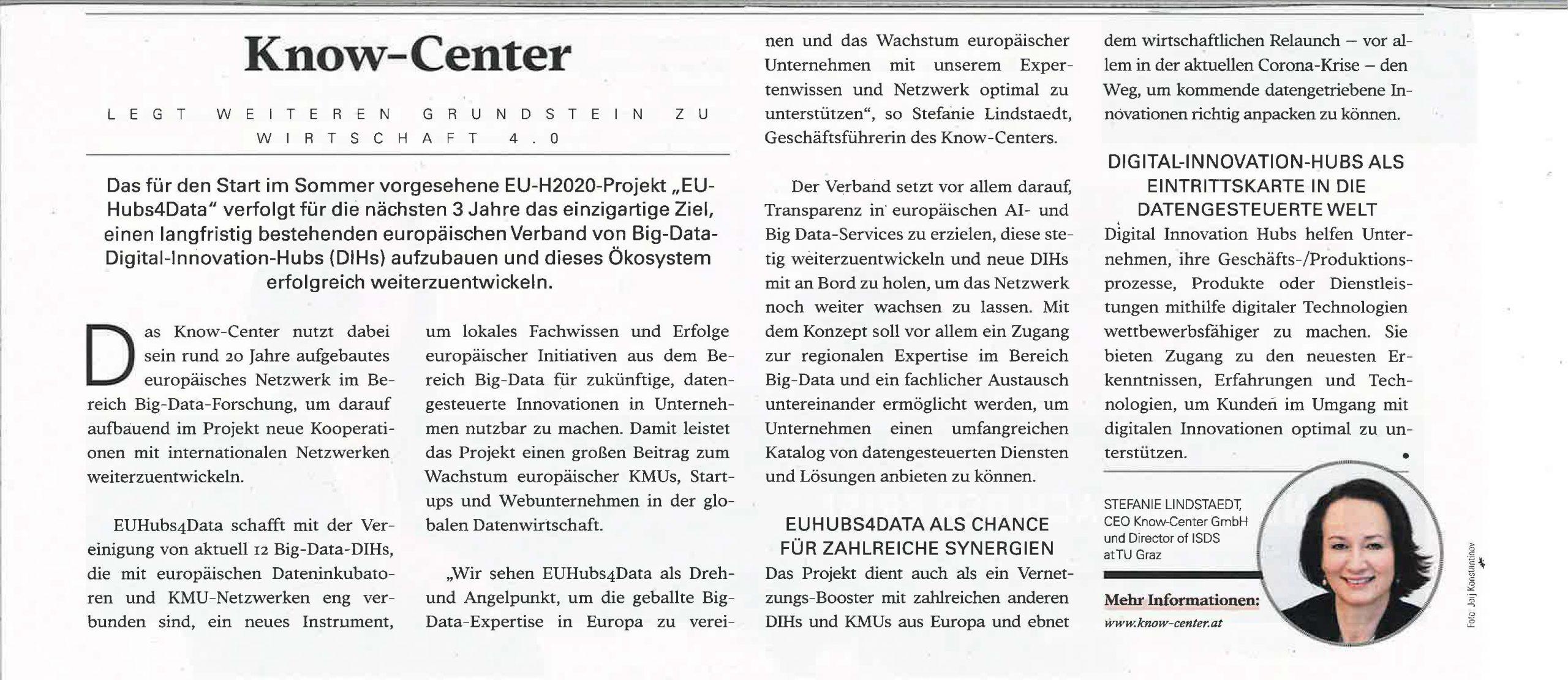 2020-05-31_JUST Magazin_KnowCenter legt weiteren Grundstein zu Wirtschaft 4.0