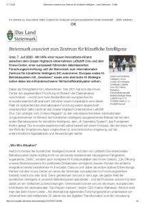 Steiermark avanciert zum Zentrum für künstliche Intelligenz