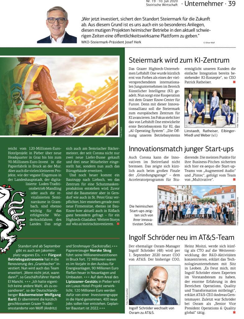 2020-07-10_Steirische Wirtschaft-Steiermark wird zum KI Zentrum