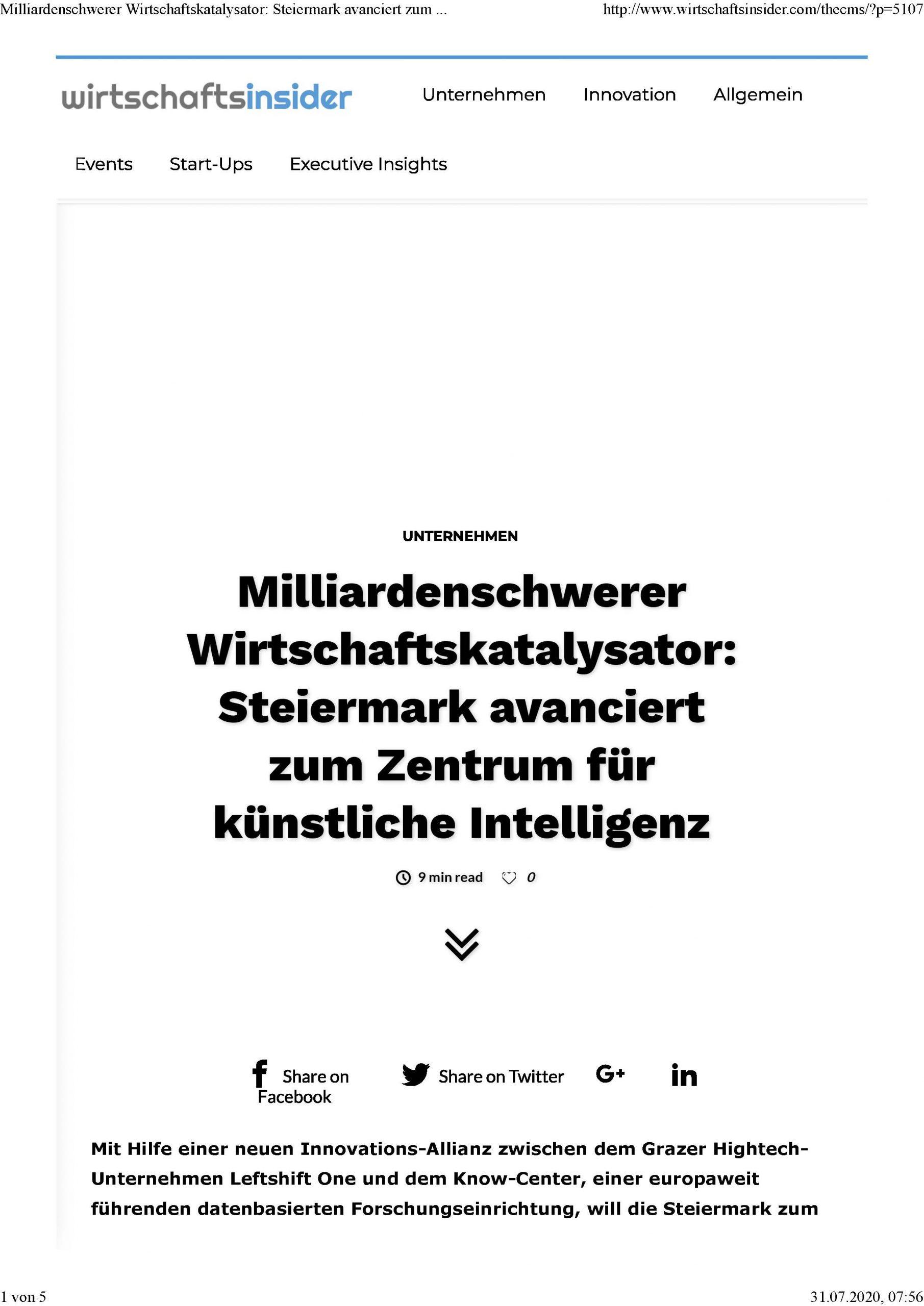 2020-07-10_Wirtschaftsinsider_Milliardenschwerer Wirtschaftskatalysator-Steiermark avanciert zum Zentrum für KI_Seite_1