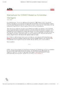 Startschuss für COMET-Modul zu Künstlicher Intelligenz