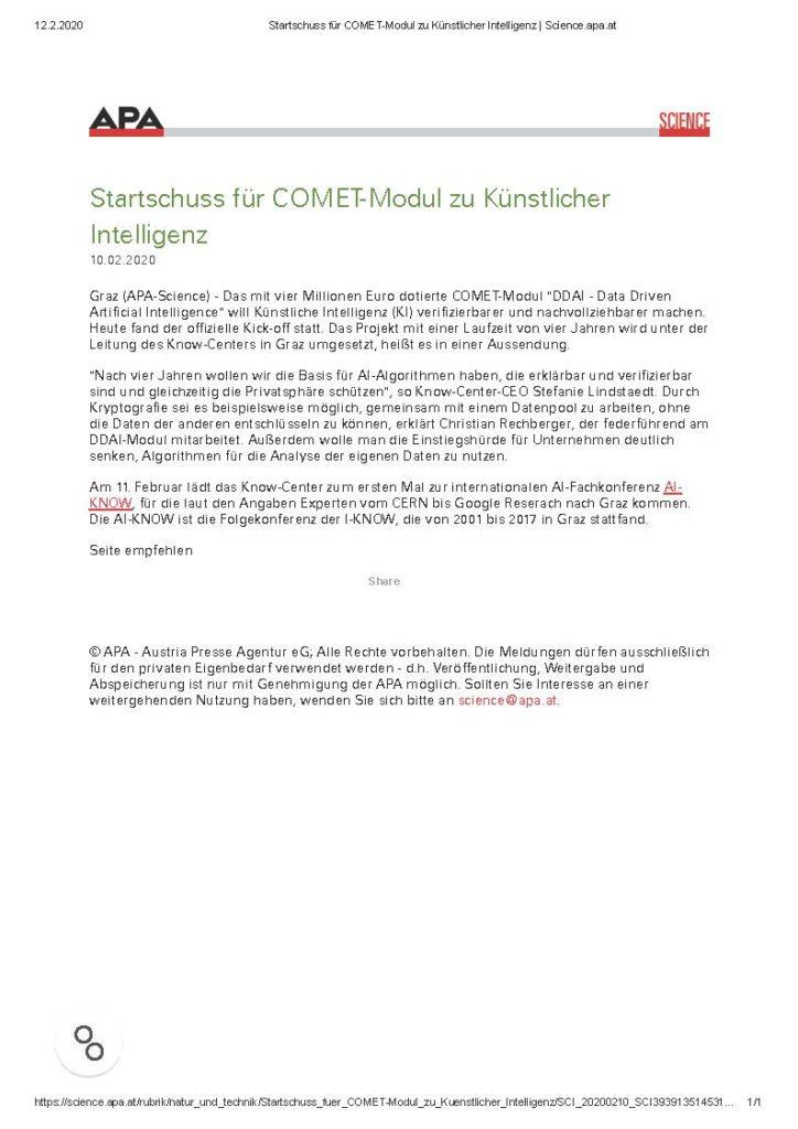 2020-02-12_science.apa.at_Startschuss für COMET-Modul zu Künstlicher Intelligenz