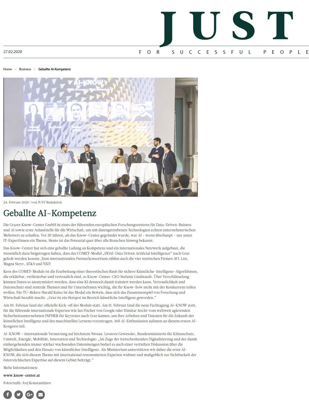 2020-02-24__JUST-magazin.com_Geballte AI-Kompetenz