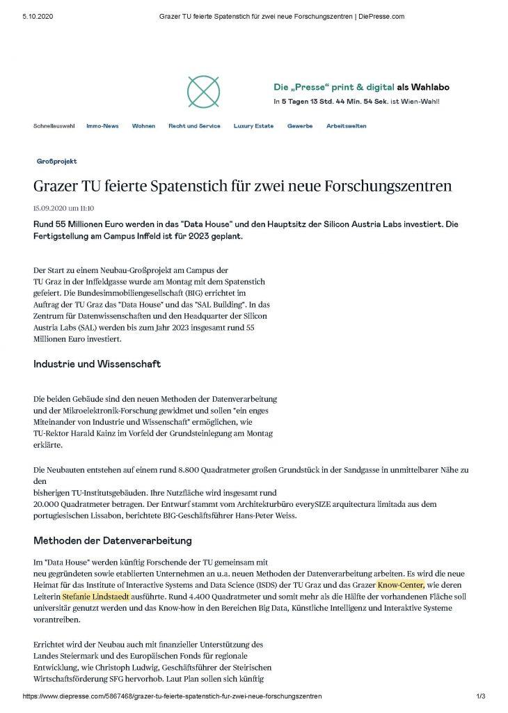 2020-09-22_DiePresse.com_Grazer TU feierte Spatenstich für zwei neue Forschungszentren_Seite_1