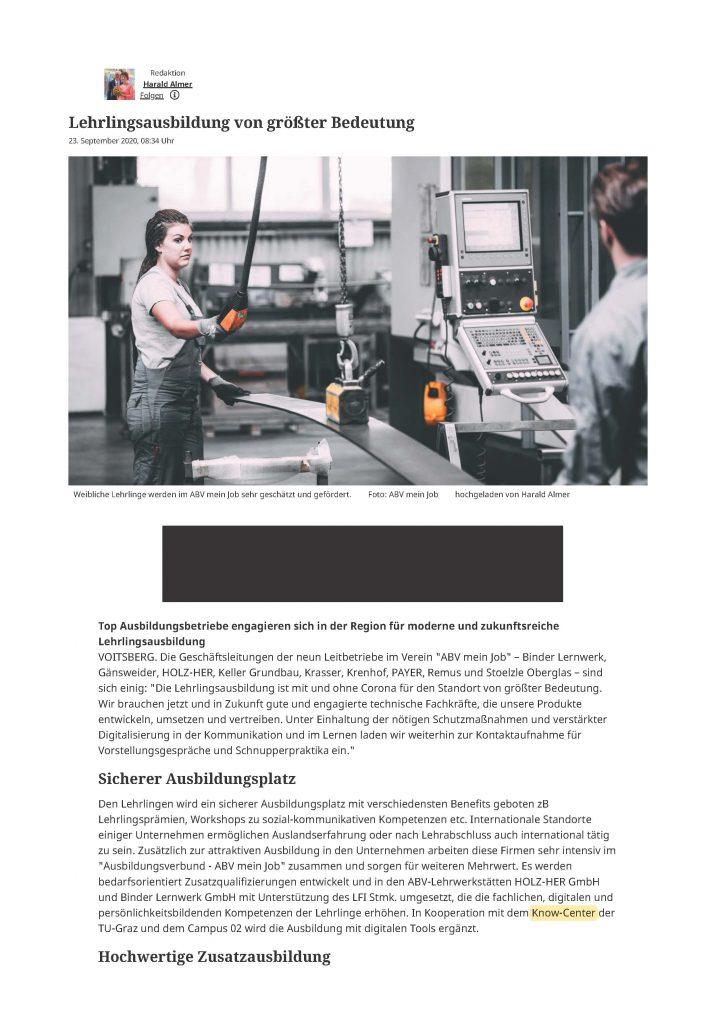 2020-09-29_meinbezirk.at_Lehrlingsausbildung von groesster Bedeutung_Seite_1