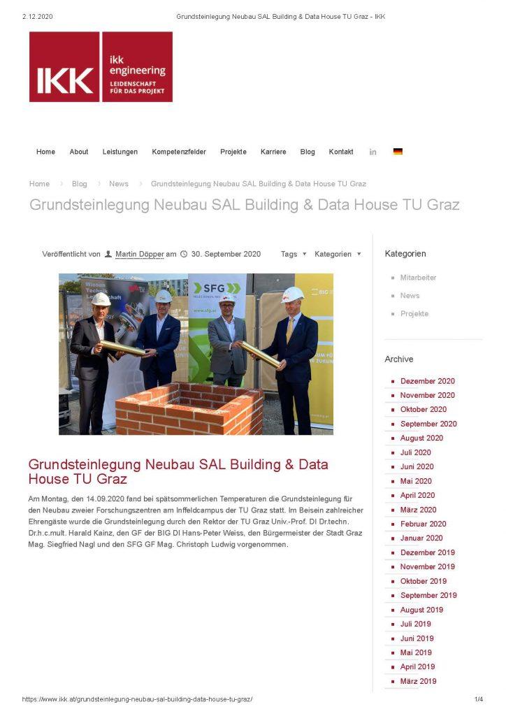 2020-09-30_ikk.at_Grundsteinlegung Neubau SAL Building & Data House TU Graz_Seite_1