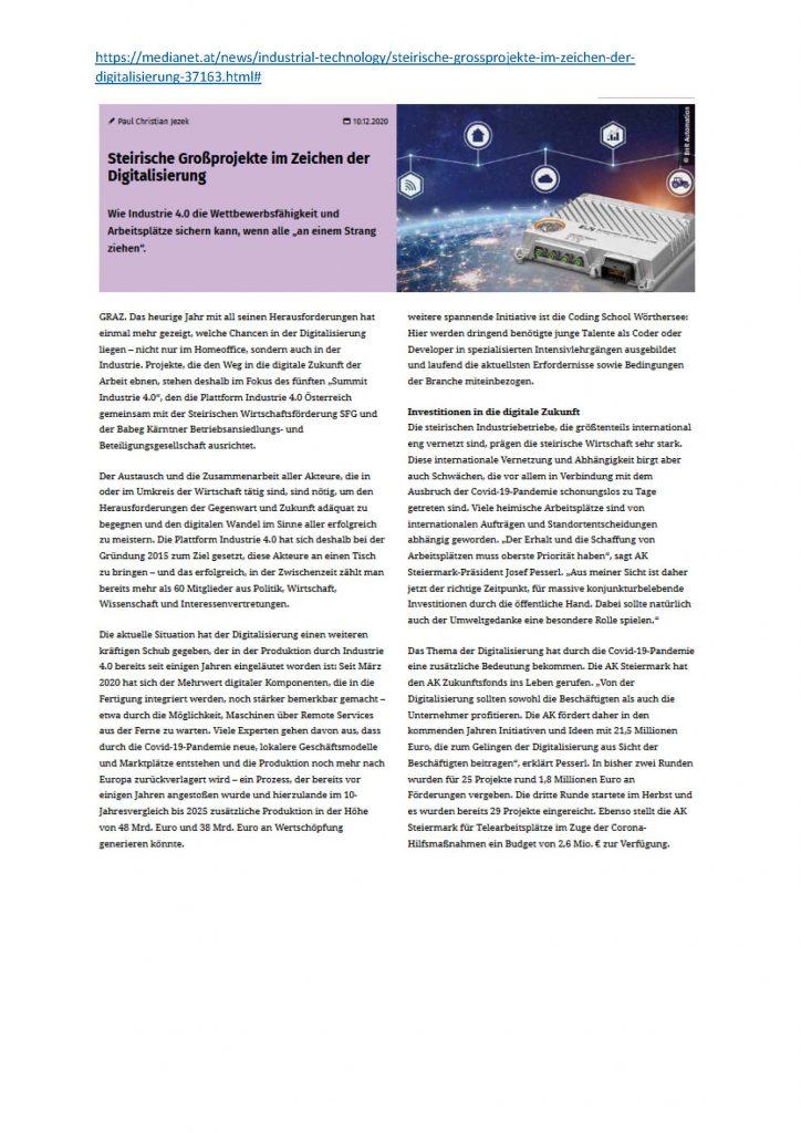 2020-12-10_medianet.at_Steirische Großprojekte im Zeichen der Digitalisierung_Seite_1