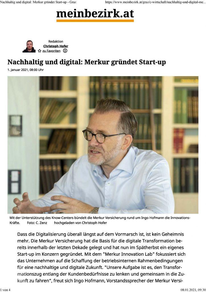 2021-01-01_meinbezirk.at_Nachhaltig und digital_ Merkur gründet Start-up - Graz_Seite_1